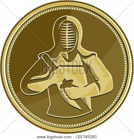 Illustration of a kendo kendoka swordsman with bamboo sword or shinai and protective armour or bogu set inside gold brass coin medal viewed from front done in retro style.