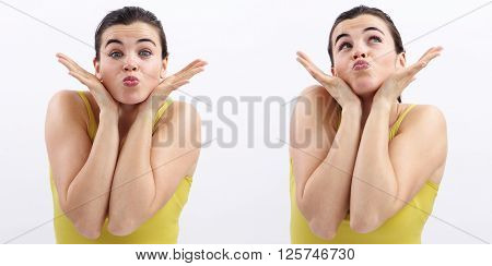 fun woman open hands and kiss joyful isolated on white background