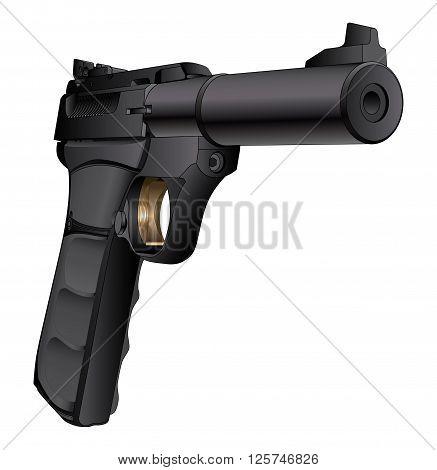 Gun Semi-Auto 22 Caliber is a detailed three quarter view illustration of a modern black semi-automatic 22 Caliber pistol.