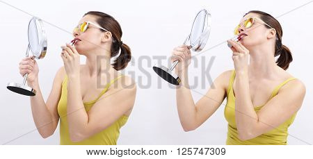 fun woman with lipstick and mirror joyful isolated on white background