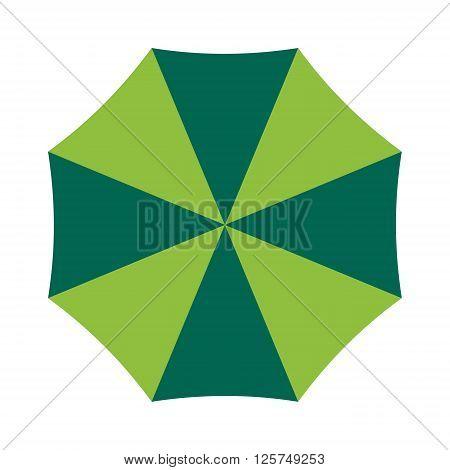 Vector illustration of classic elegant opened umbrella isolated on white background. Flat opened umbrella flat cartoon vector illustration. Opened umbrella weather parasol.