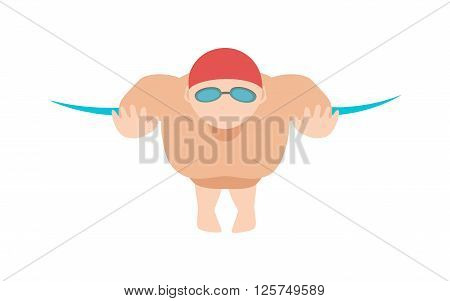Sport pool swimmer and young swimmer athlete. Swimmer race action professional person training. Dynamic swimmer  and fit man in cap breathing performing butterfly stroke pool sport vector illustration