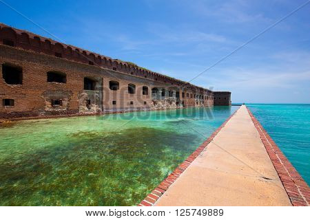 The Harbor Light sits atop of the Civil War Fort Jefferson in the Dry Tortugas Civil War Prison