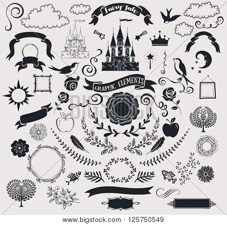 Set of Fairy Tale Graphic Vector Elements - Fairy tale-themed set of crisp black clip art, including castle, banners, frames, roses, clouds, birds, branches, flowers, swirls and fun shapes; hand drawn