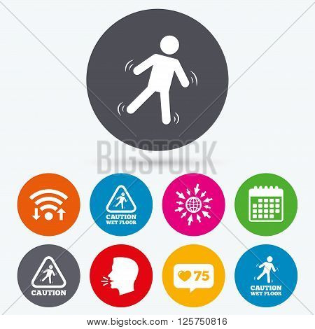 Wifi, like counter and calendar icons. Caution wet floor icons. Human falling triangle symbol. Slippery surface sign. Human talk, go to web.