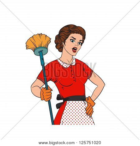 Pop Art woman comic style housewife woman. Cleaning war housewife girl vector illustration. Pop art style housewife girl strong girl. Domestic, kitchen, cleaning service housewife woman