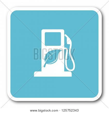 biofuel blue square internet flat design icon