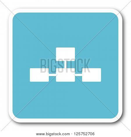 database blue square internet flat design icon