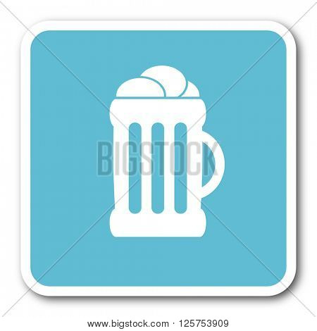 beer blue square internet flat design icon