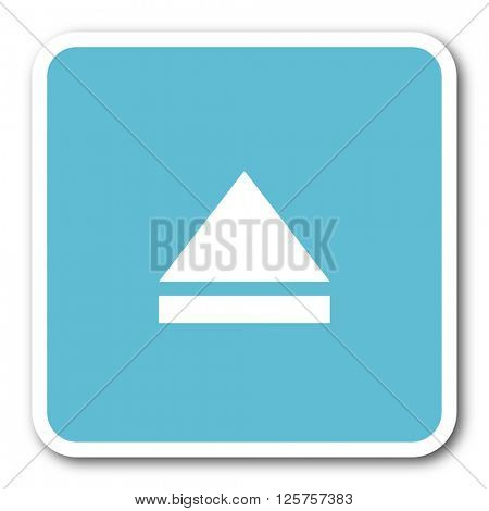 eject blue square internet flat design icon