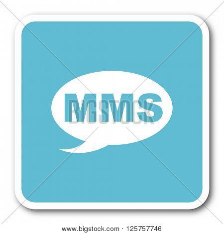 mms blue square internet flat design icon
