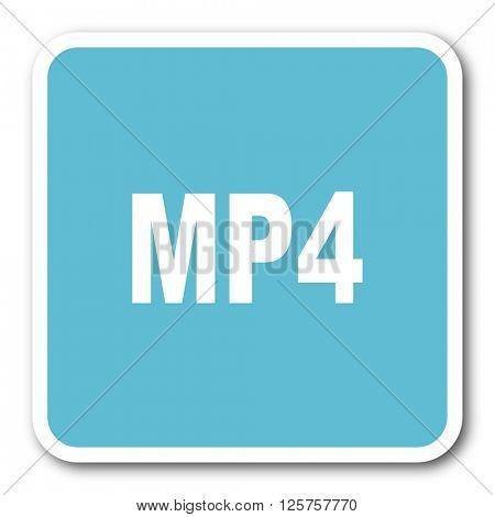 mp4 blue square internet flat design icon