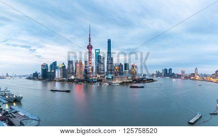 panoramic view of shanghai skyline and huangpu river in nightfall China