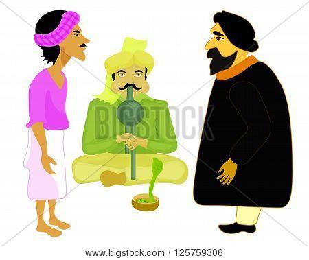 India set male snake charmer. vector illustration