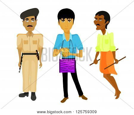 India set a police man musician rickshaw. vector illustration