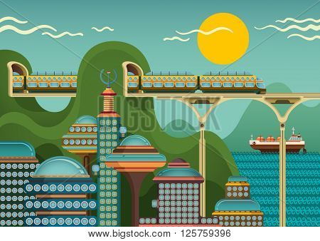 Train passes through the tunnel above the city. Vector illustration.