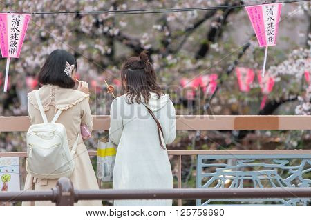 Tokyo Japan - April 7 2016: Japanese girls see beauty of Cherry blossom or Sakura at Meguro Canal in Tokyo Landmark see of cherry blossom season.