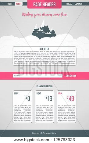 Landing website template. Landing page design layout. Information one page website layout
