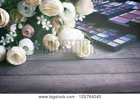 Vintage Beauty Background,flowers And Natural Smoky And Dark Purple Eyeshadow Palette