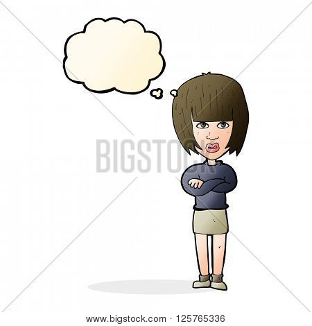 cartoon annoyed woman with thought bubble