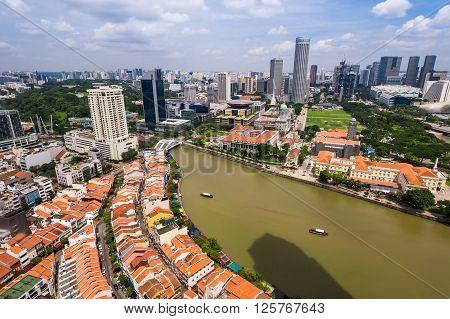 Singapore 14 Dec 2013: Aerial view of metropolitan city landscape.