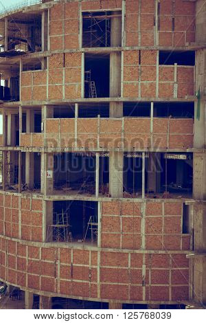 Brick Wall Of Building Construction Site, Image Used Old Vintage Style Filter