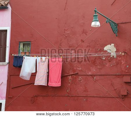 Washed Laundry And Lots Of Clothes Hung Out To Dry