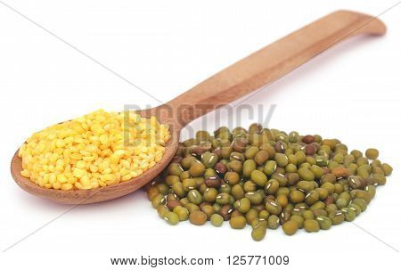 Mung dal with selective focus over white background