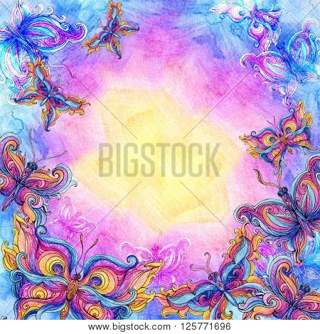 Watercolor butterfly background in rainbow colors. Colorful sky background with butterflies. Hand painted illustration.