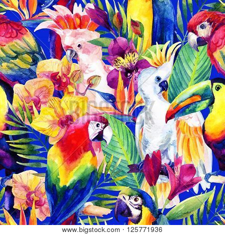 watercolor parrots with tropical flowers seamless pattern. Exotic background. Hand painted illustration of different species of parrots in vivid colors poster