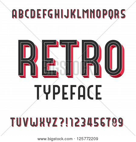 Retro Alphabet Vector Font. Extruded type letters and numbers. Stock vector typography for your design.