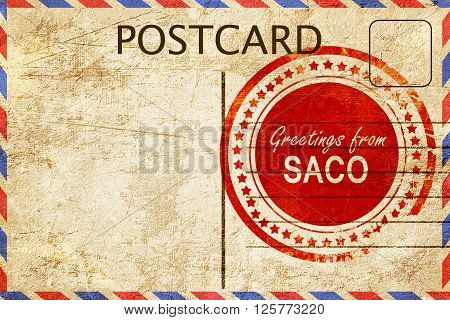greetings from saco, stamped on a postcard