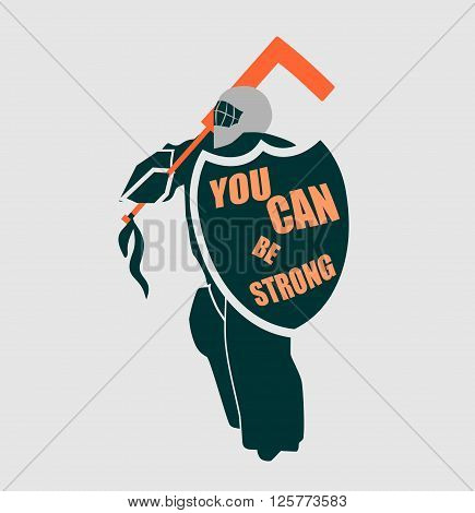 Vector illustration of ice hockey goalie with knight shield. You can be strong motto. Sport metaphor. Sport relative quote