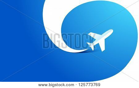 airplane flight tickets air fly travel takeoff silhouette  ribbon colored blue background