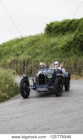 PESARO, ITALY - MAY 15:  BUGATTI T 37 Grand Prix 1927 on an old racing car in rally Mille Miglia 2015 the famous italian historical race (1927-1957) in May 2015