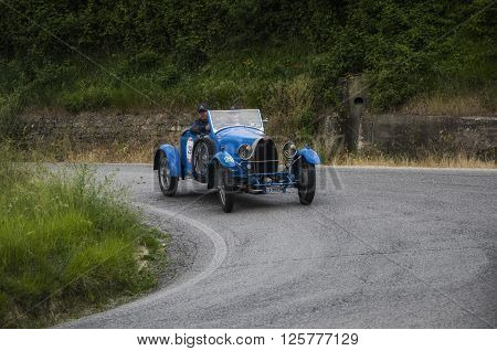 PESARO, ITALY - MAY 15: BUGATTI T 40 1927 on an old racing car in rally Mille Miglia 2015 the famous italian historical race (1927-1957) in May 2015