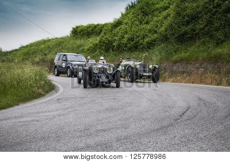 PESARO, ITALY - MAY 15: INVICTA Tipo S Low Chassis 1932 on an old racing car in rally Mille Miglia 2015 the famous italian historical race (1927-1957) in May 2015