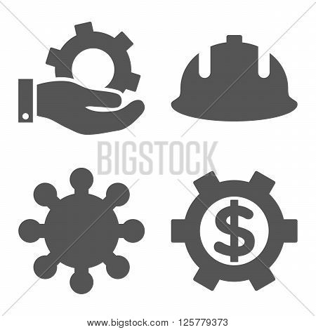 Development vector icons. Style is gray flat symbols on a white background.