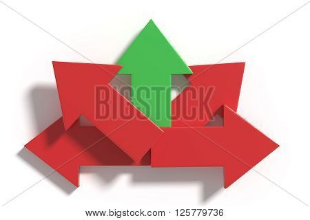 Five Red And Green Arrows In Different Directions