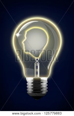 Concept Illustration of Human Face Inside Lightbulb