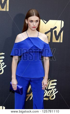 Holland Roden at the 2016 MTV Movie Awards held at the Warner Bros. Studios in Burbank, USA on April 9, 2016.