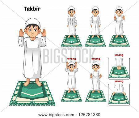 Muslim prayer position guide step by step perform by boy standing and raising the hands or takbir with wrong position