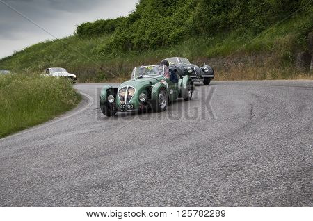 PESARO, ITALY - MAY 15: HEALEY 2400 Silverstone 1949 an old racing car in rally Mille Miglia 2015 the famous italian historical race (1927-1957) on May 2015