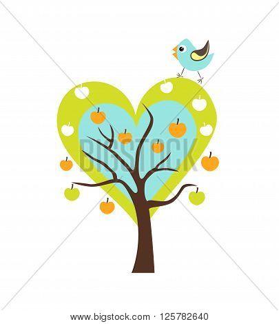Singing Bird on the tree. Stylized happy cartoon illustration. Flat color vector design. Child theme.