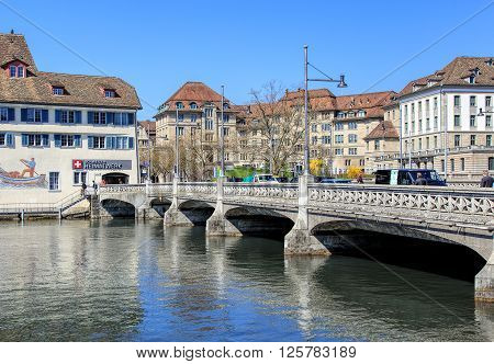Zurich, Switzerland - 11 April, 2016: the Rufolf Brun bridge. Rudolf Brun (1290s-17 September 1360) was the leader of the Zurich guilds' revolution of 1336 and the city's first independent mayor.