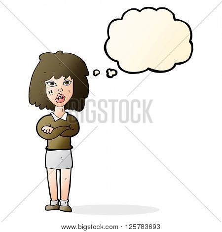 cartoon tough woman with folded arms with thought bubble