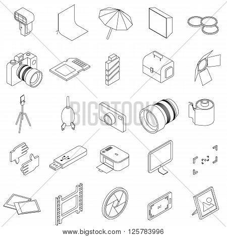 Photo studio equipment icons set use for any design
