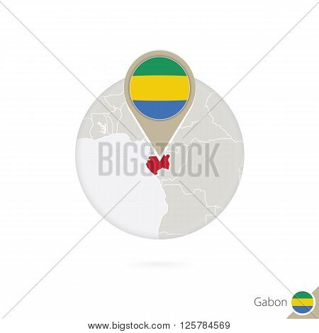 Gabon Map And Flag In Circle. Map Of Gabon, Gabon Flag Pin. Map Of Gabon In The Style Of The Globe.