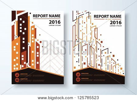 Abstract modern town background. Cover design template layout in A4 size for annual report brochure flyer vector illustration