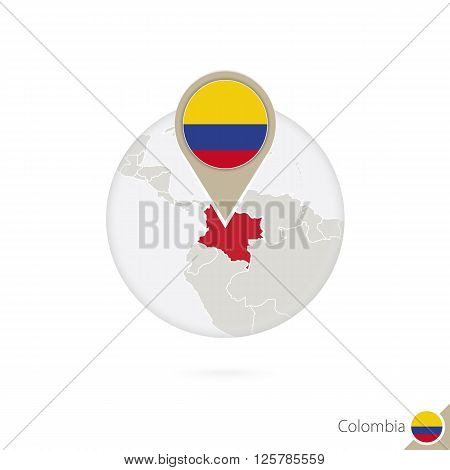 Colombia Map And Flag In Circle. Map Of Colombia, Colombia Flag Pin. Map Of Colombia In The Style Of